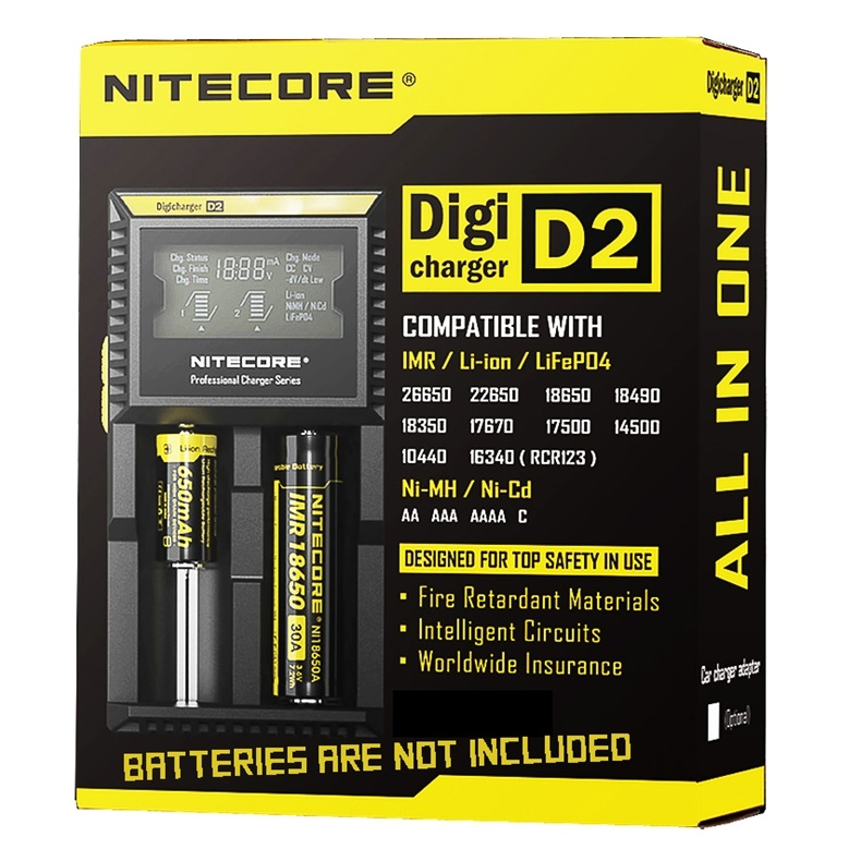 Nitecore D2 2-Slot Digital Battery Charger LCD Display Li-ion Ni-MH Ni-Cd