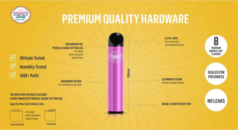 Dinner Lady Vape Pen Max Disposable Pod 1500 Puffs-800