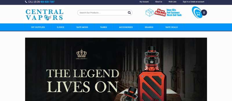Central Vapors Online Vape Shop in America 800x420